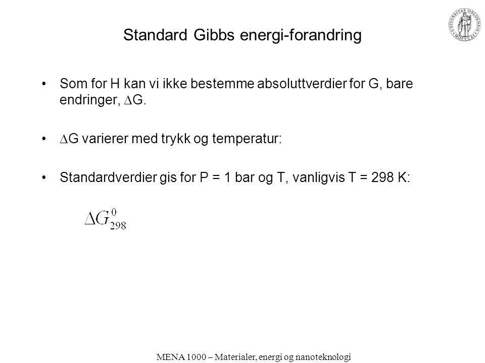 MENA 1000 – Materialer, energi og nanoteknologi Standard Gibbs energi-forandring •Som for H kan vi ikke bestemme absoluttverdier for G, bare endringer