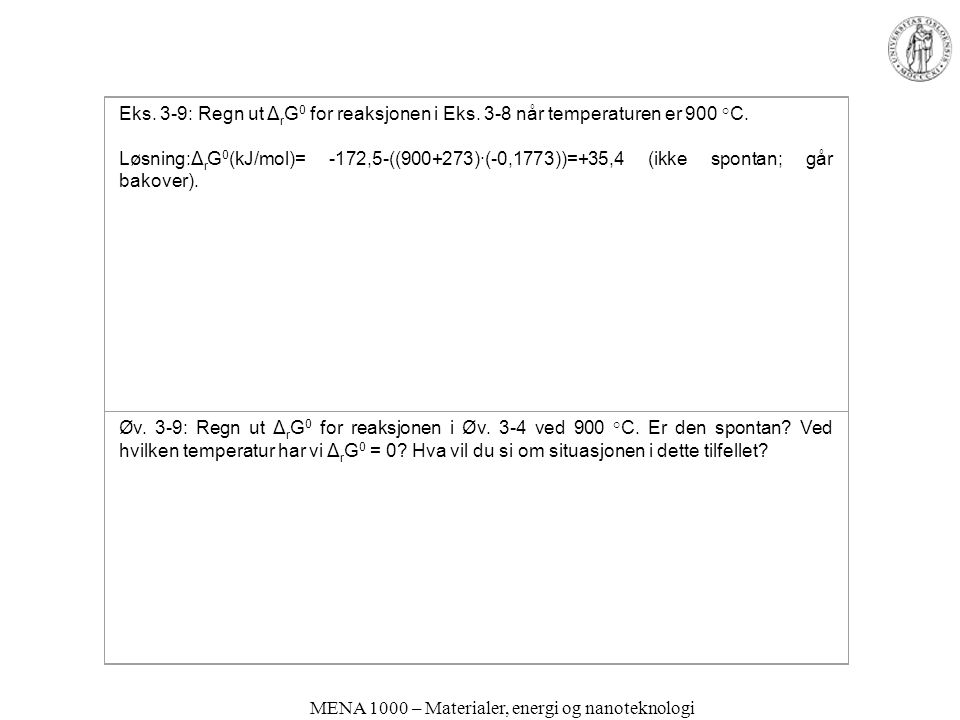 MENA 1000 – Materialer, energi og nanoteknologi Eks. 3-9: Regn ut Δ r G 0 for reaksjonen i Eks. 3-8 når temperaturen er 900 °C. Løsning:Δ r G 0 (kJ/mo