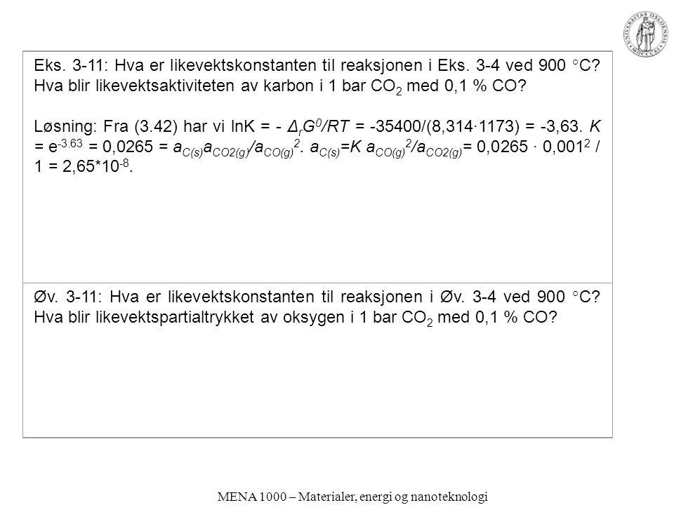 MENA 1000 – Materialer, energi og nanoteknologi Eks. 3-11: Hva er likevektskonstanten til reaksjonen i Eks. 3-4 ved 900 °C? Hva blir likevektsaktivite