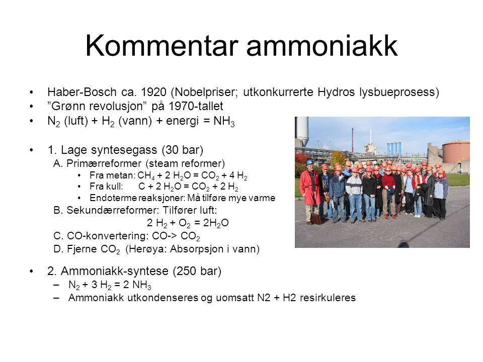 """Kommentar ammoniakk •Haber-Bosch ca. 1920 (Nobelpriser; utkonkurrerte Hydros lysbueprosess) •""""Grønn revolusjon"""" på 1970-tallet •N 2 (luft) + H 2 (vann"""