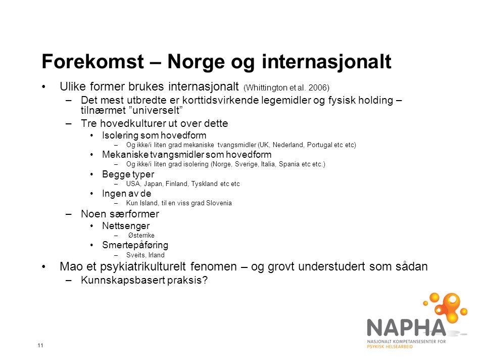 11 Forekomst – Norge og internasjonalt •Ulike former brukes internasjonalt (Whittington et al.