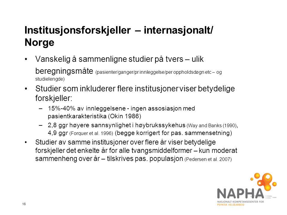 16 Institusjonsforskjeller – internasjonalt/ Norge •Vanskelig å sammenligne studier på tvers – ulik beregningsmåte (pasienter/ganger/pr innleggelse/per oppholdsdøgn etc – og studielengde) •Studier som inkluderer flere institusjoner viser betydelige forskjeller: –15%-40% av innleggelsene - ingen assosiasjon med pasientkarakteristika (Okin 1986) –2,8 ggr høyere sannsynlighet i høybrukssykehus (Way and Banks (1990), 4,9 ggr (Forquer et al.