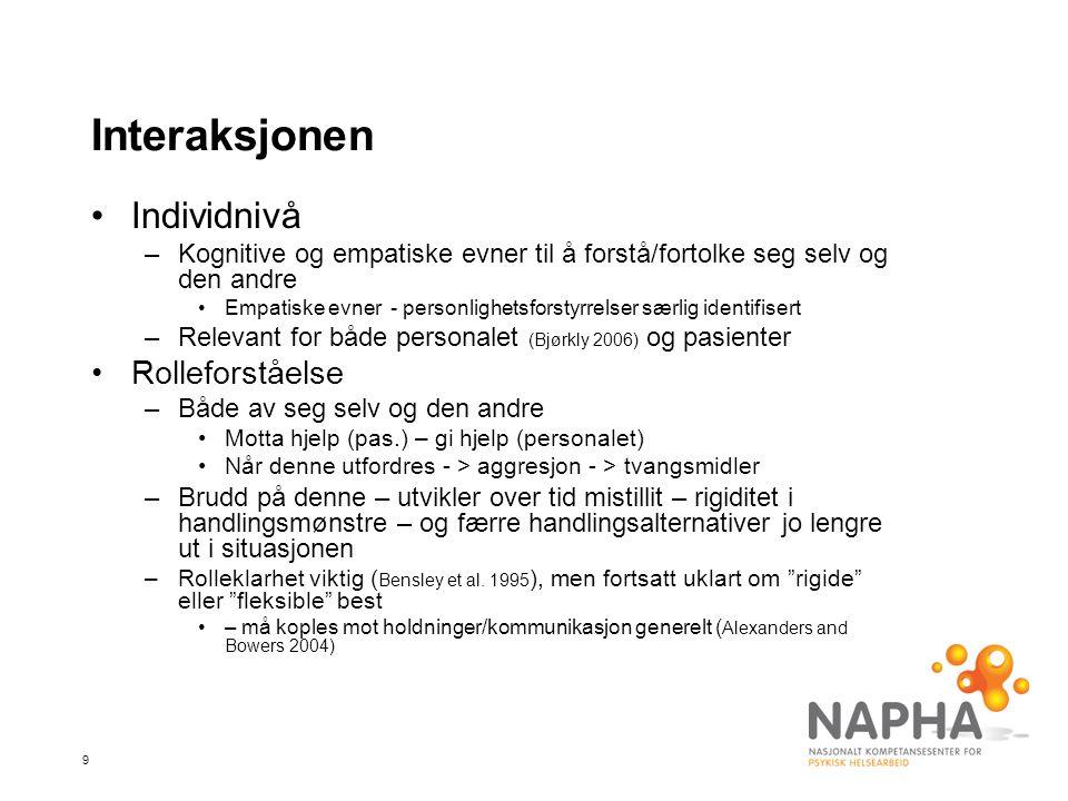20 Oppsummering •Tvangsmiddelbruk komplekst samspill av pasient-, personal-, og institusjonelle faktorer –sannsynligvis minst å hente på å fokusere på det første •Betydelig variasjon i tvangsmiddelkulturer internasjonalt –en kunnskapsutfordring for det kliniske feltet •Stabil tvangsmiddelbruk i Norge over lang tid –Bør adresseres målrettet, og med bredt sett av virkemidler, hvis reduksjon (Norvoll 2008) •Negative effekter betydelige (bare så vidt berørt) –I (for) liten grad erkjent av personalet