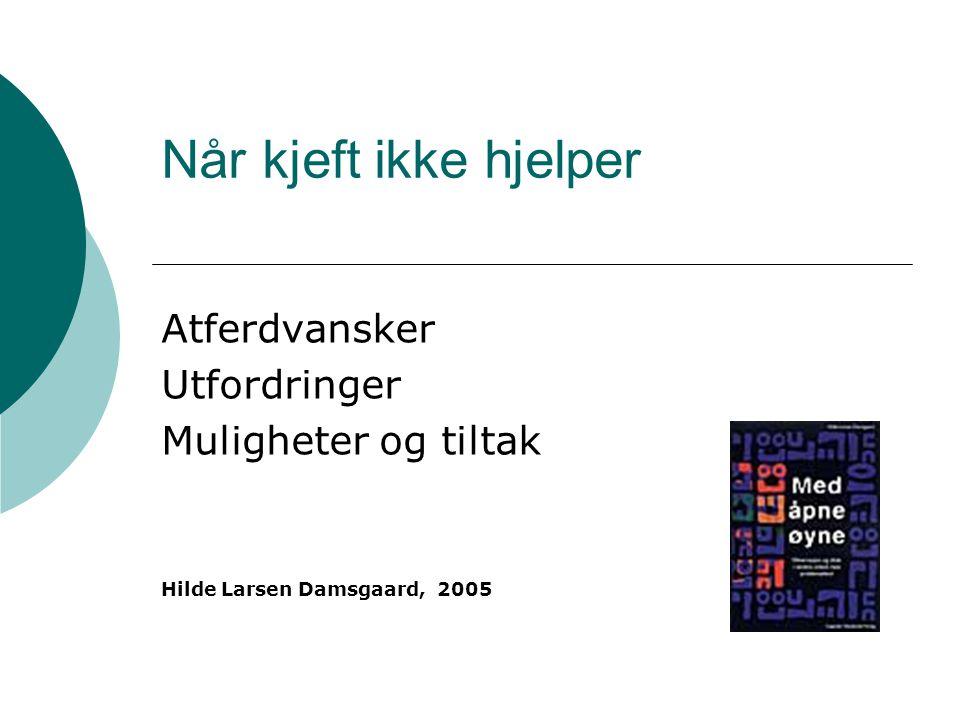 Når kjeft ikke hjelper Atferdvansker Utfordringer Muligheter og tiltak Hilde Larsen Damsgaard, 2005