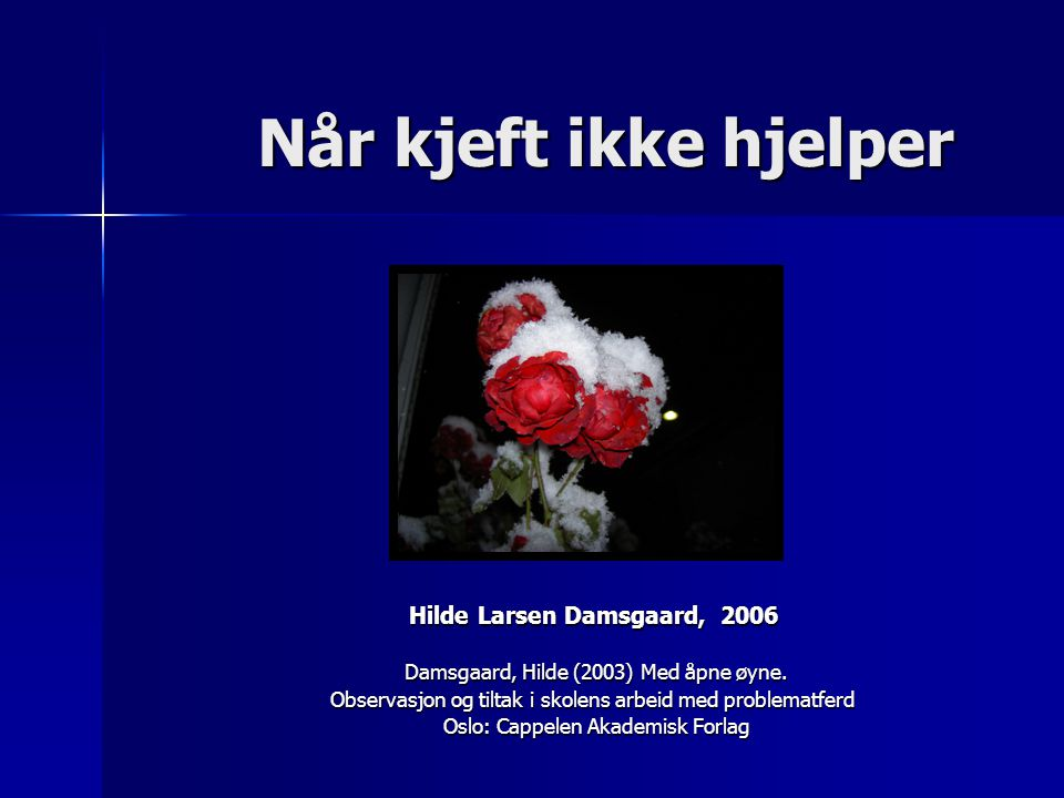 Når kjeft ikke hjelper Når kjeft ikke hjelper Hilde Larsen Damsgaard, 2006 Damsgaard, Hilde (2003) Med åpne øyne. Damsgaard, Hilde (2003) Med åpne øyn