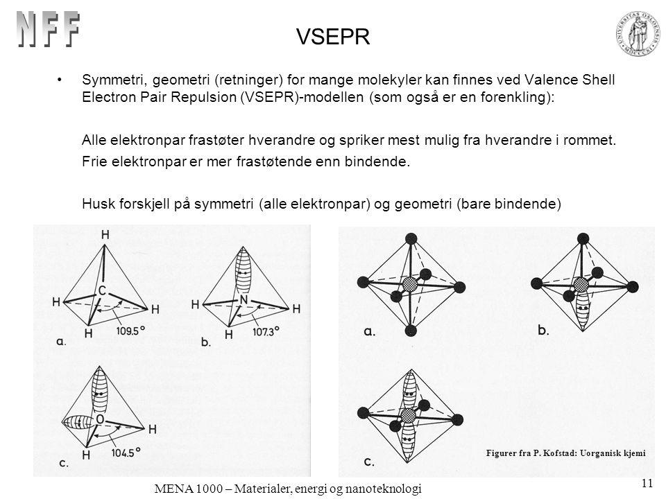 MENA 1000 – Materialer, energi og nanoteknologi VSEPR •Symmetri, geometri (retninger) for mange molekyler kan finnes ved Valence Shell Electron Pair Repulsion (VSEPR)-modellen (som også er en forenkling): Alle elektronpar frastøter hverandre og spriker mest mulig fra hverandre i rommet.