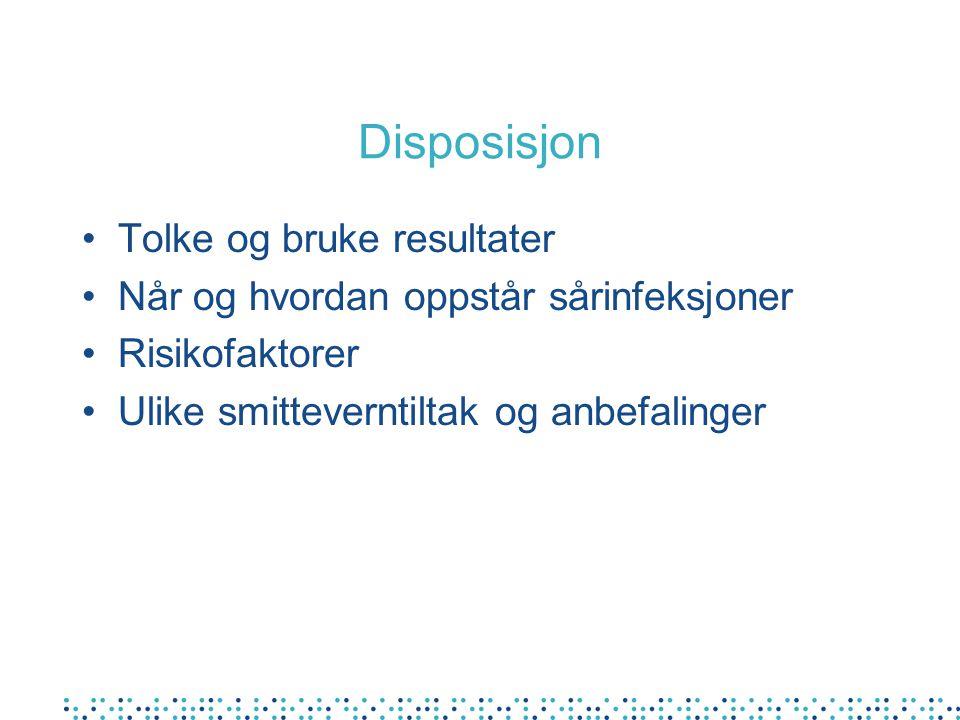 Disposisjon •Tolke og bruke resultater •Når og hvordan oppstår sårinfeksjoner •Risikofaktorer •Ulike smitteverntiltak og anbefalinger