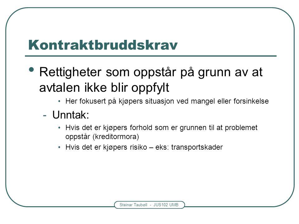 Steinar Taubøll - JUS102 UMB Kontraktbruddskrav • Rettigheter som oppstår på grunn av at avtalen ikke blir oppfylt •Her fokusert på kjøpers situasjon