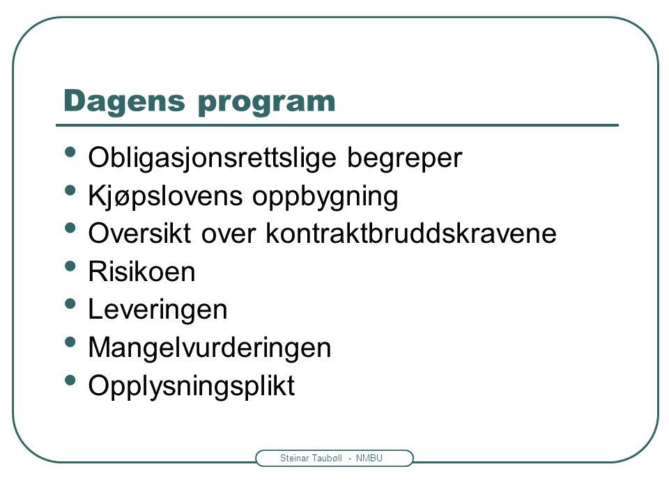 Steinar Taubøll - NMBU Dagens program • Obligasjonsrettslige begreper • Kjøpslovens oppbygning • Oversikt over kontraktbruddskravene • Risikoen • Leveringen • Mangelvurderingen • Opplysningsplikt