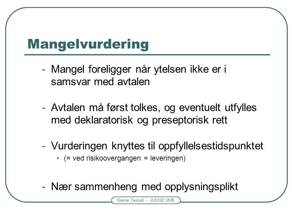 Steinar Taubøll - JUS102 UMB Mangelvurdering -Mangel foreligger når ytelsen ikke er i samsvar med avtalen -Avtalen må først tolkes, og eventuelt utfyl
