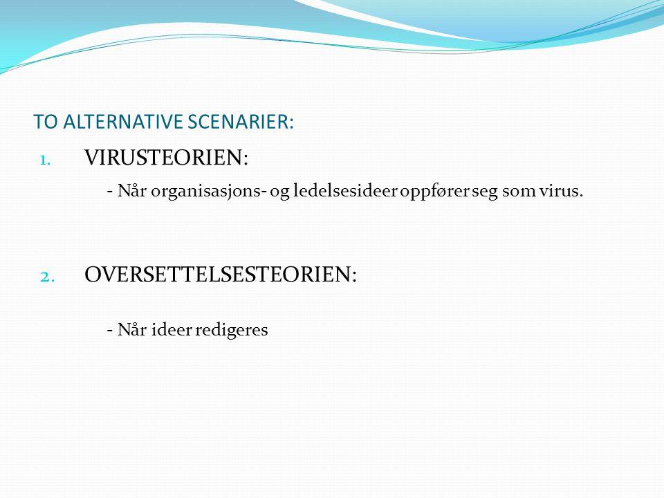 TO ALTERNATIVE SCENARIER: 1. VIRUSTEORIEN: - Når organisasjons- og ledelsesideer oppfører seg som virus. 2. OVERSETTELSESTEORIEN: - Når ideer redigere
