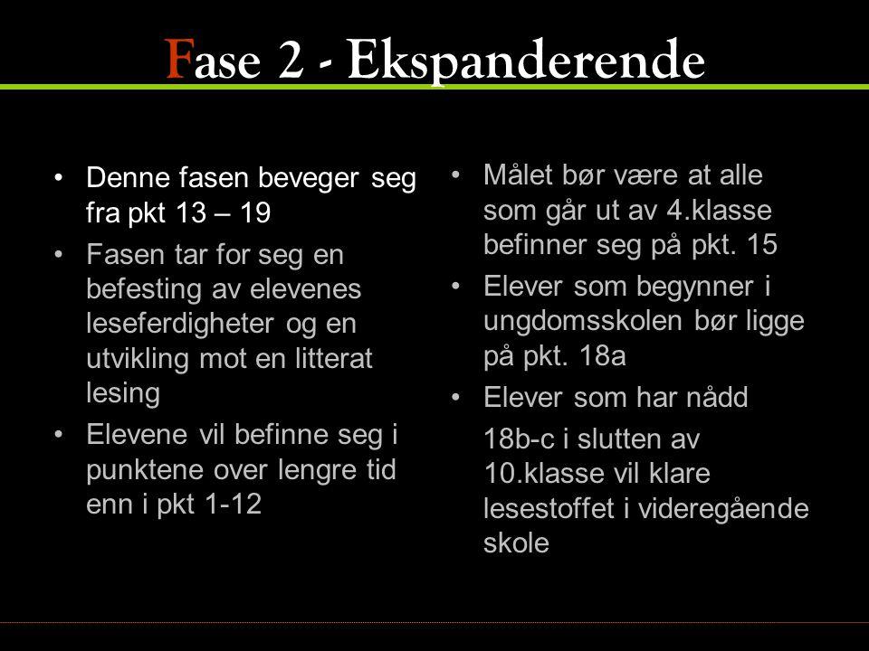 Fase 2 - Ekspanderende •Denne fasen beveger seg fra pkt 13 – 19 •Fasen tar for seg en befesting av elevenes leseferdigheter og en utvikling mot en lit