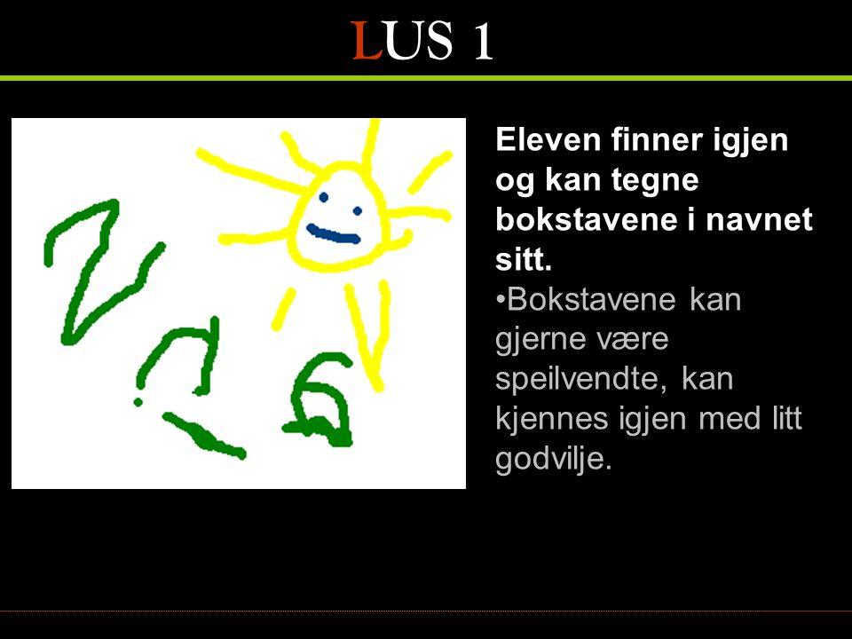 LUS 2 Kjenner den norske leseretningen, fra venstre til høyre, ovenfra og nedover •Eleven holder boka riktig vei når han eller hun leker at det leses •Eleven kan glemme hvilken vei det skal leses, men tar seg inn og leser riktig vei igjen – tydelig tegn på at de faktisk vet retningen