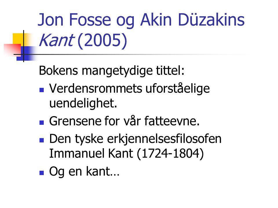Jon Fosse og Akin Düzakins Kant (2005) Bokens mangetydige tittel:  Verdensrommets uforståelige uendelighet.  Grensene for vår fatteevne.  Den tyske