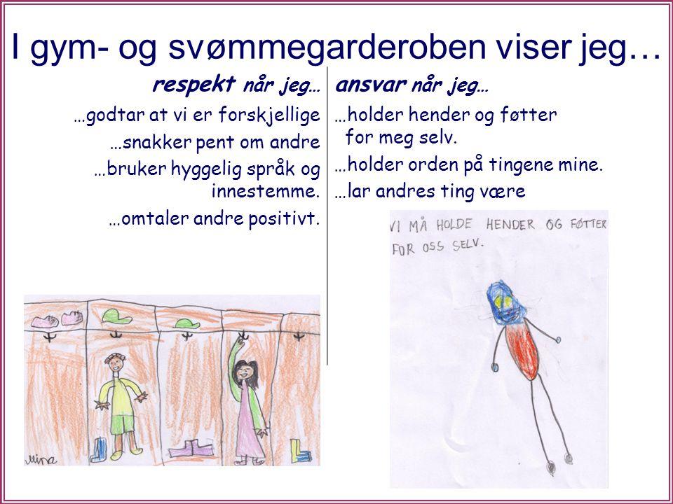 I gym- og svømmegarderoben viser jeg… respekt når jeg… ansvar når jeg… …godtar at vi er forskjellige …snakker pent om andre …bruker hyggelig språk og