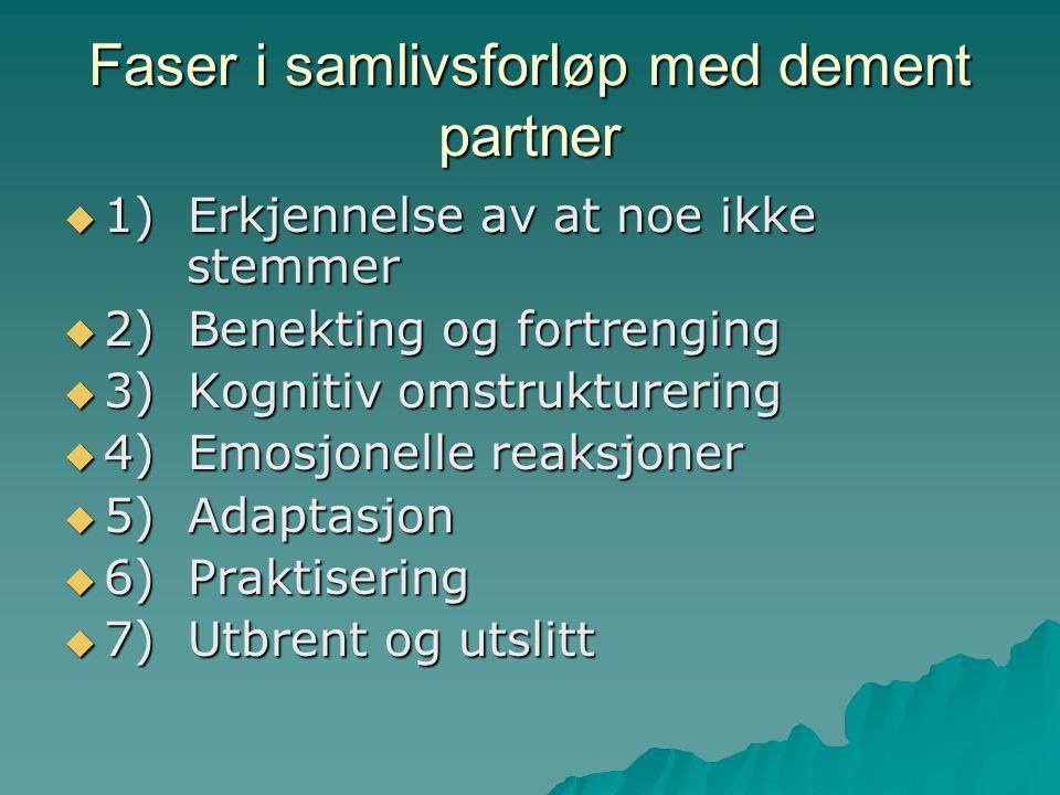 Faser i samlivsforløp med dement partner  1) Erkjennelse av at noe ikke stemmer  2) Benekting og fortrenging  3) Kognitiv omstrukturering  4) Emos