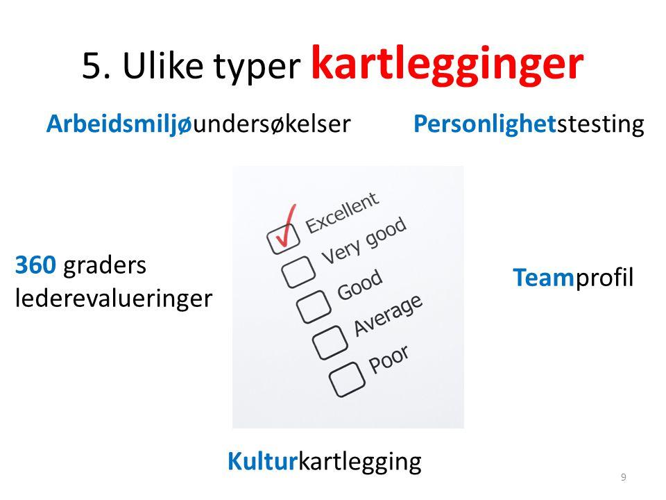 5. Ulike typer kartlegginger 9 Kulturkartlegging Arbeidsmiljøundersøkelser 360 graders lederevalueringer Personlighetstesting Teamprofil