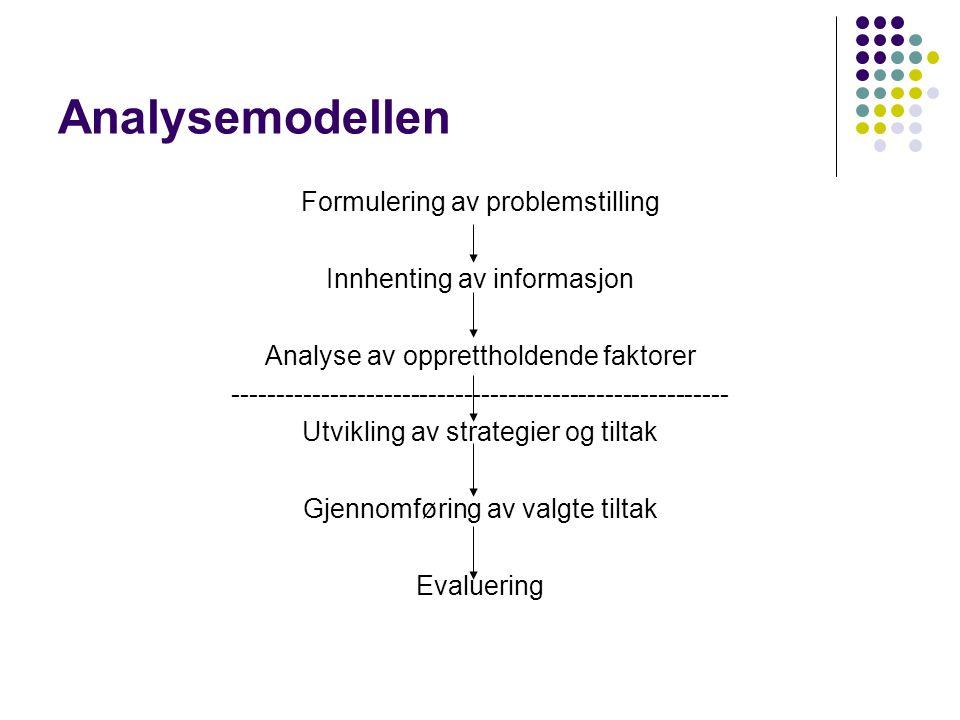 Analysemodellen Formulering av problemstilling Innhenting av informasjon Analyse av opprettholdende faktorer -----------------------------------------