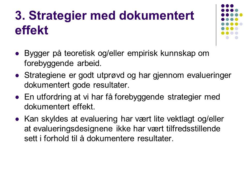 3. Strategier med dokumentert effekt  Bygger på teoretisk og/eller empirisk kunnskap om forebyggende arbeid.  Strategiene er godt utprøvd og har gje