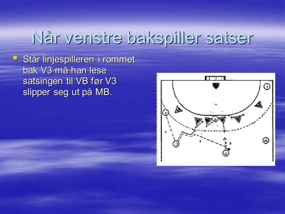  Står linjespilleren i rommet bak V3 må han lese satsingen til VB før V3 slipper seg ut på MB. Når venstre bakspiller satser