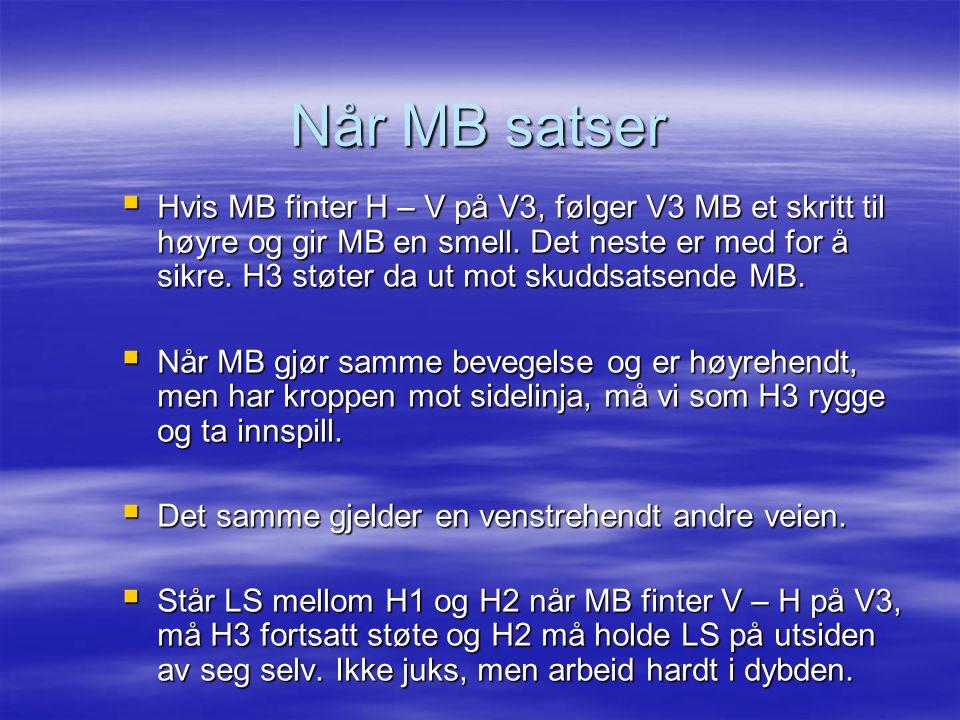  Hvis MB finter H – V på V3, følger V3 MB et skritt til høyre og gir MB en smell. Det neste er med for å sikre. H3 støter da ut mot skuddsatsende MB.