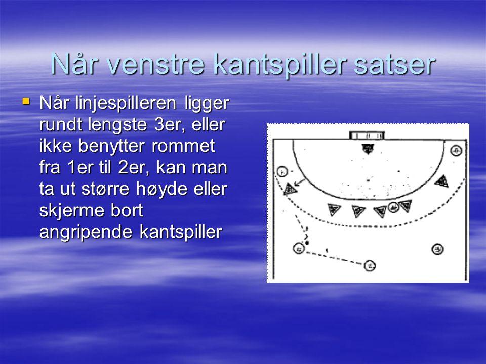  Når linjespilleren ligger rundt lengste 3er, eller ikke benytter rommet fra 1er til 2er, kan man ta ut større høyde eller skjerme bort angripende ka