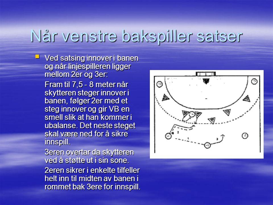  Ved satsing innover i banen og når linjespilleren ligger mellom 2er og 3er: Fram til 7,5 - 8 meter når skytteren steger innover i banen, følger 2er