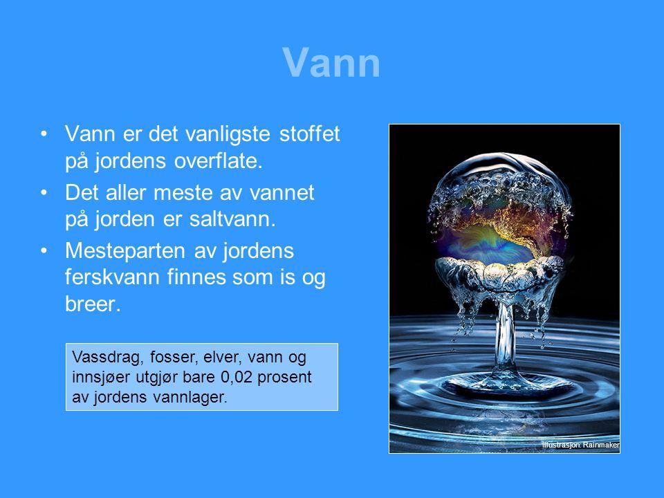 Vann •Vannmolekylet går under benevnelsen H 2 O.