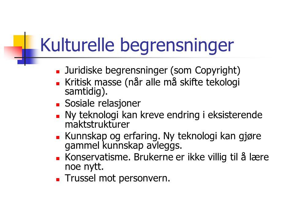 Kulturelle begrensninger  Juridiske begrensninger (som Copyright)  Kritisk masse (når alle må skifte tekologi samtidig).