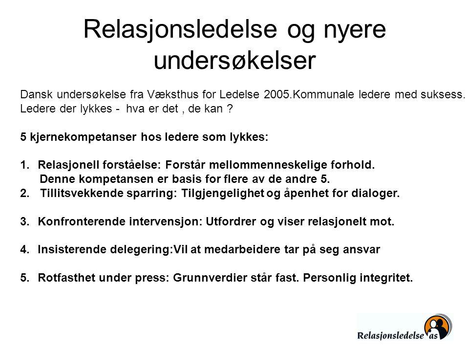 Relasjonsledelse og nyere undersøkelser Dansk undersøkelse fra Væksthus for Ledelse 2005.Kommunale ledere med suksess. Ledere der lykkes - hva er det,