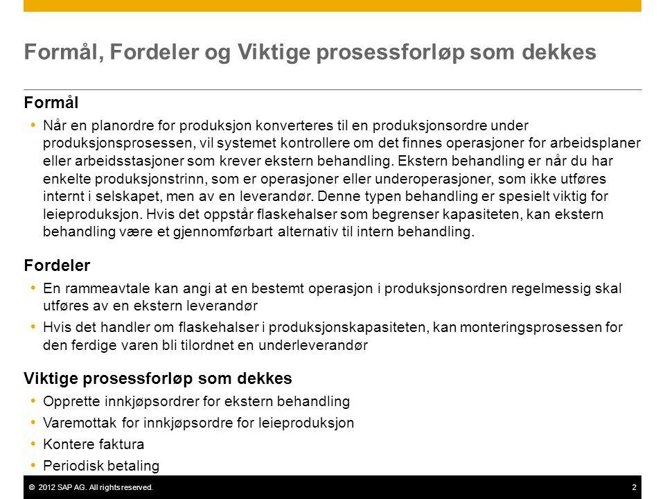 ©2012 SAP AG. All rights reserved.2 Formål, Fordeler og Viktige prosessforløp som dekkes Formål  Når en planordre for produksjon konverteres til en p
