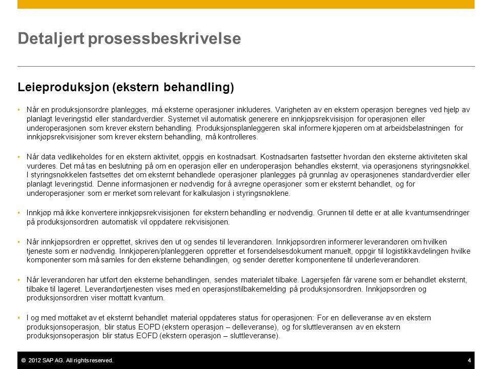 ©2012 SAP AG. All rights reserved.4 Detaljert prosessbeskrivelse Leieproduksjon (ekstern behandling) •Når en produksjonsordre planlegges, må eksterne