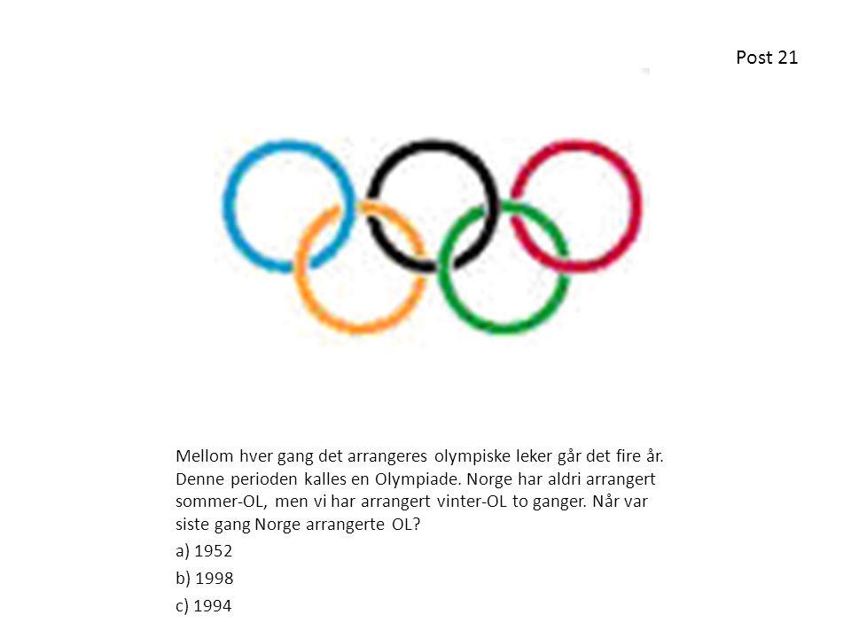 Mellom hver gang det arrangeres olympiske leker går det fire år. Denne perioden kalles en Olympiade. Norge har aldri arrangert sommer-OL, men vi har a
