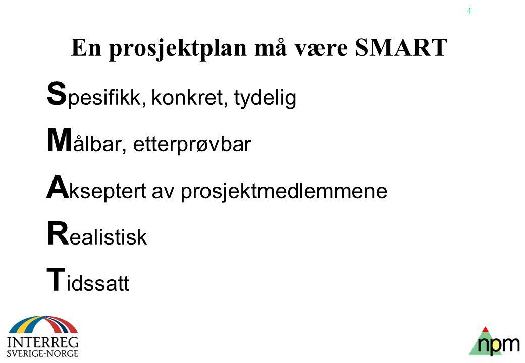 4 En prosjektplan må være SMART S pesifikk, konkret, tydelig M ålbar, etterprøvbar A kseptert av prosjektmedlemmene R ealistisk T idssatt