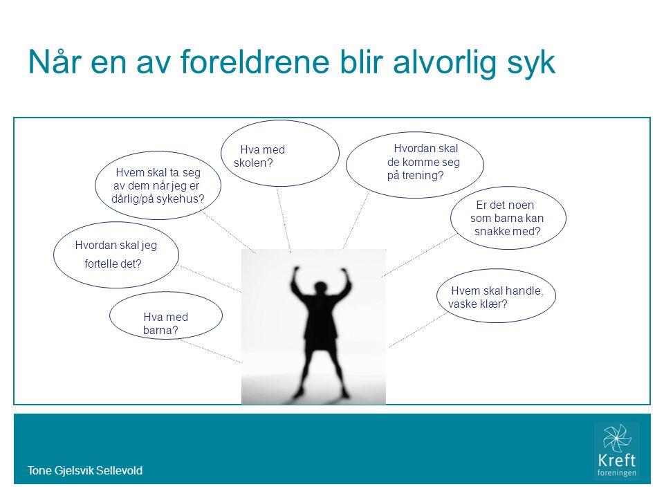 Tone Gjelsvik Sellevold Når en av foreldrene blir alvorlig syk Hvordan skal jeg fortelle det? Hvem skal ta seg av dem når jeg er dårlig/på sykehus? Er