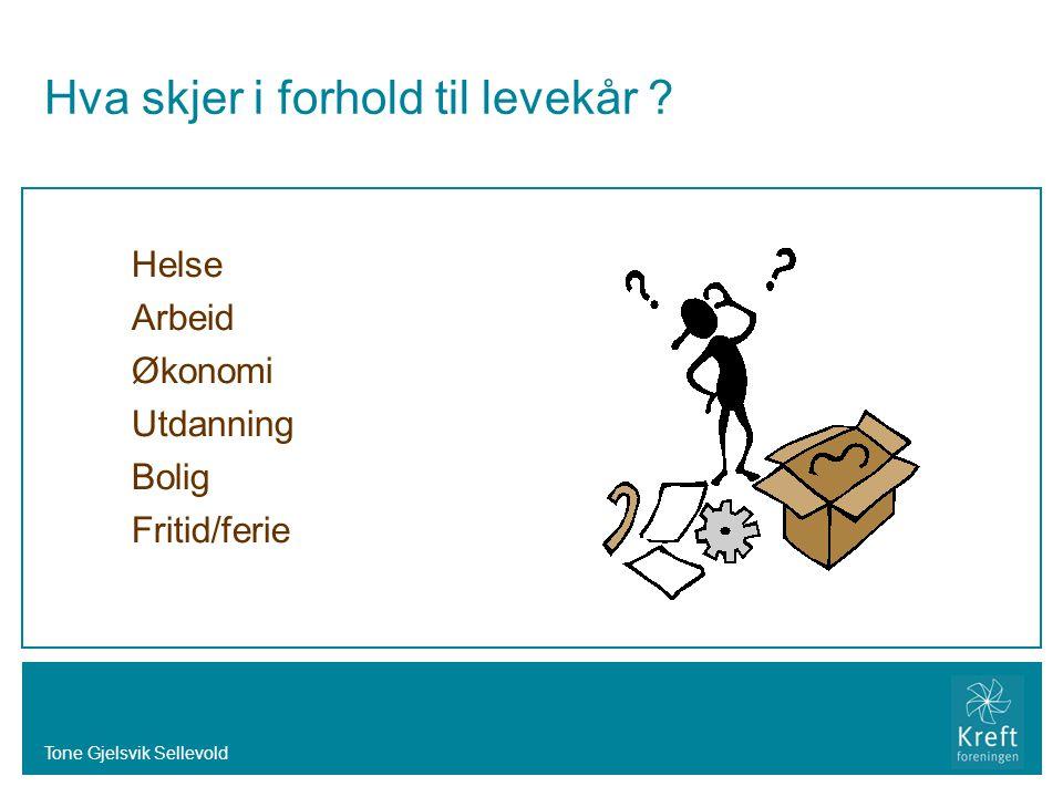 Tone Gjelsvik Sellevold Hva skjer i forhold til levekår ? Helse Arbeid Økonomi Utdanning Bolig Fritid/ferie