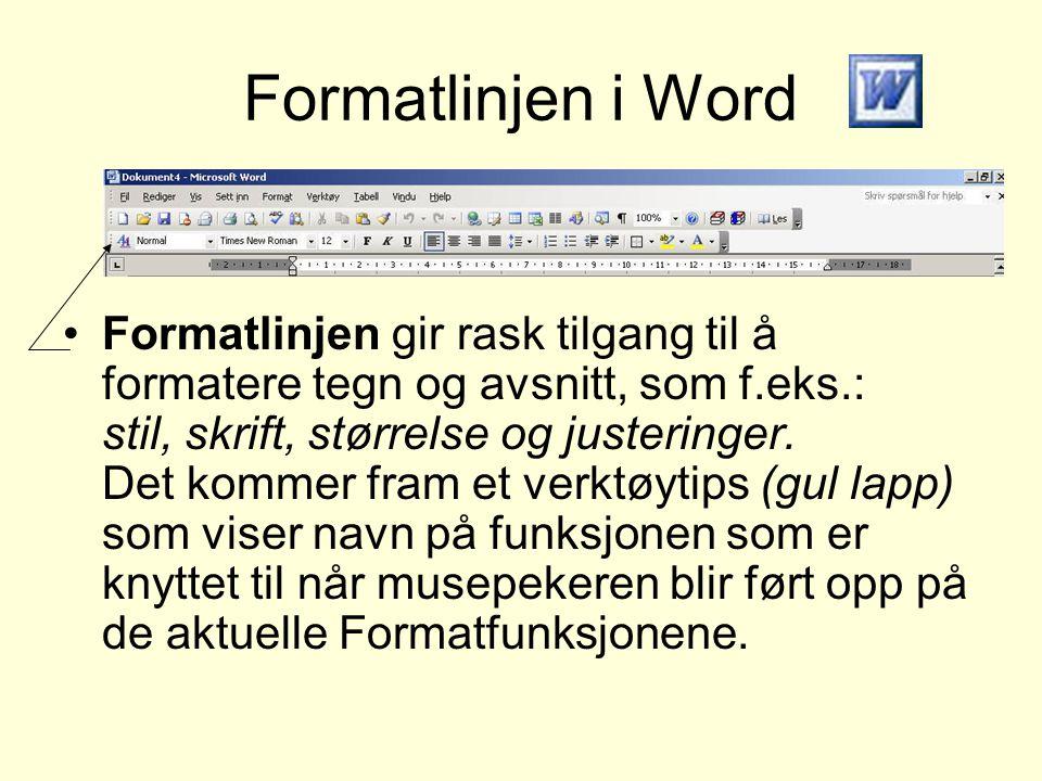 Formatlinjen i Word •Formatlinjen gir rask tilgang til å formatere tegn og avsnitt, som f.eks.: stil, skrift, størrelse og justeringer. Det kommer fra