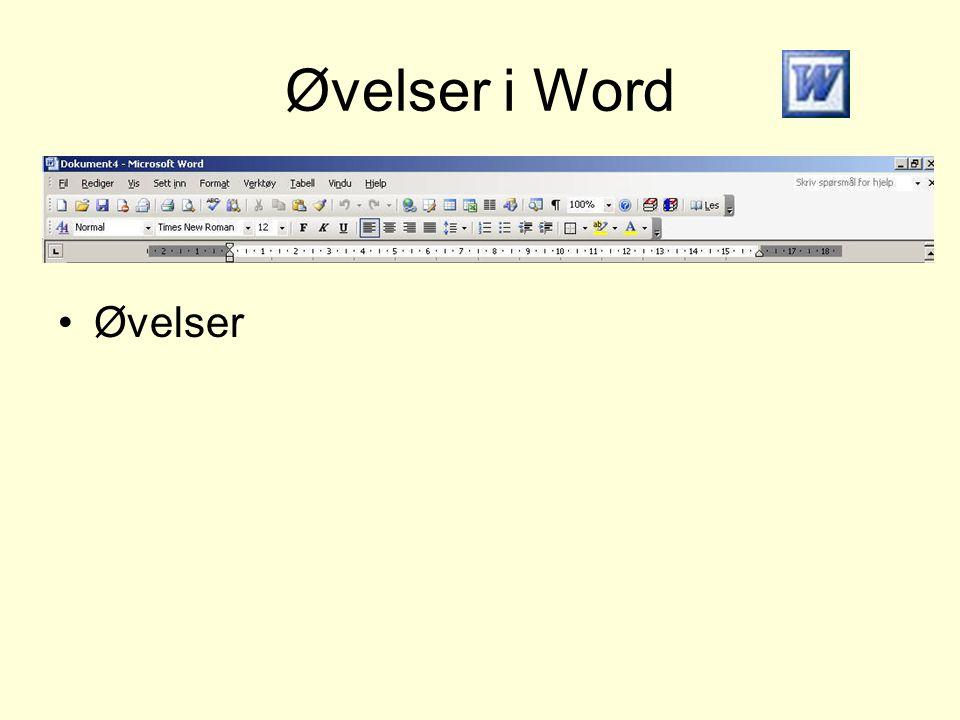 Øvelser i Word •Øvelser