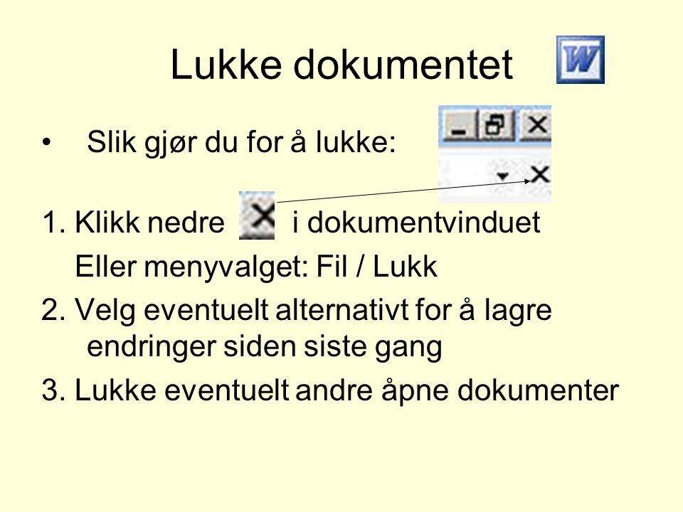 Lukke dokumentet •Slik gjør du for å lukke: 1. Klikk nedre i dokumentvinduet Eller menyvalget: Fil / Lukk 2. Velg eventuelt alternativt for å lagre en
