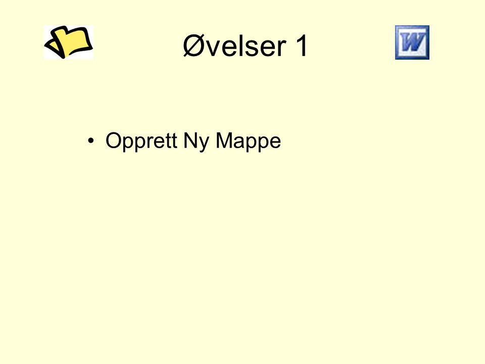 Øvelser 1 •Opprett Ny Mappe