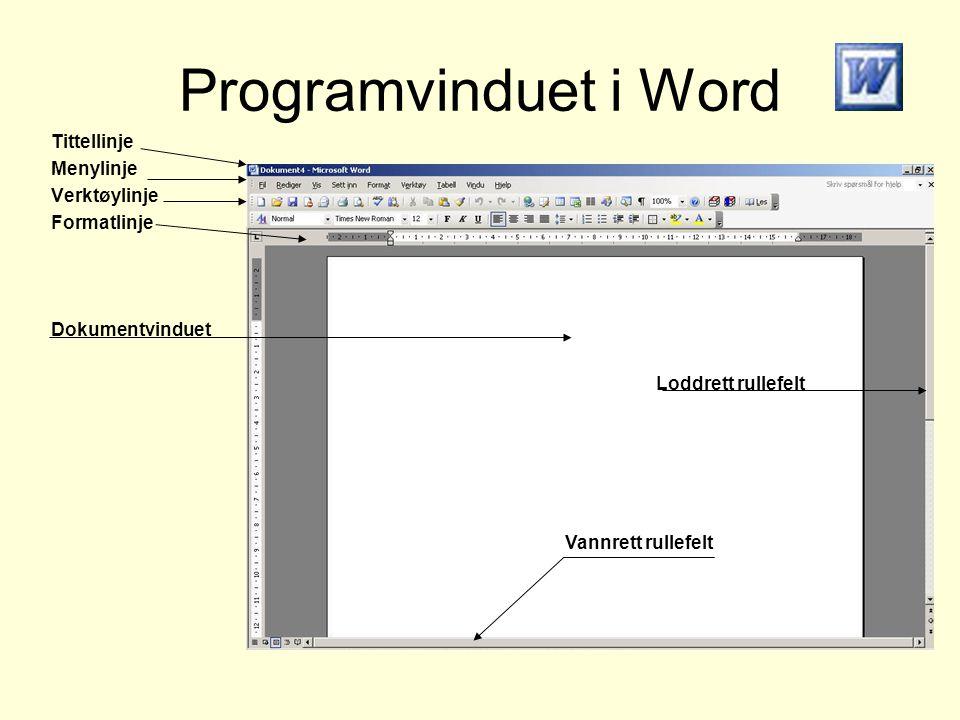 Programvinduet i Word Tittellinje Menylinje Verktøylinje Formatlinje Dokumentvinduet Loddrett rullefelt Vannrett rullefelt