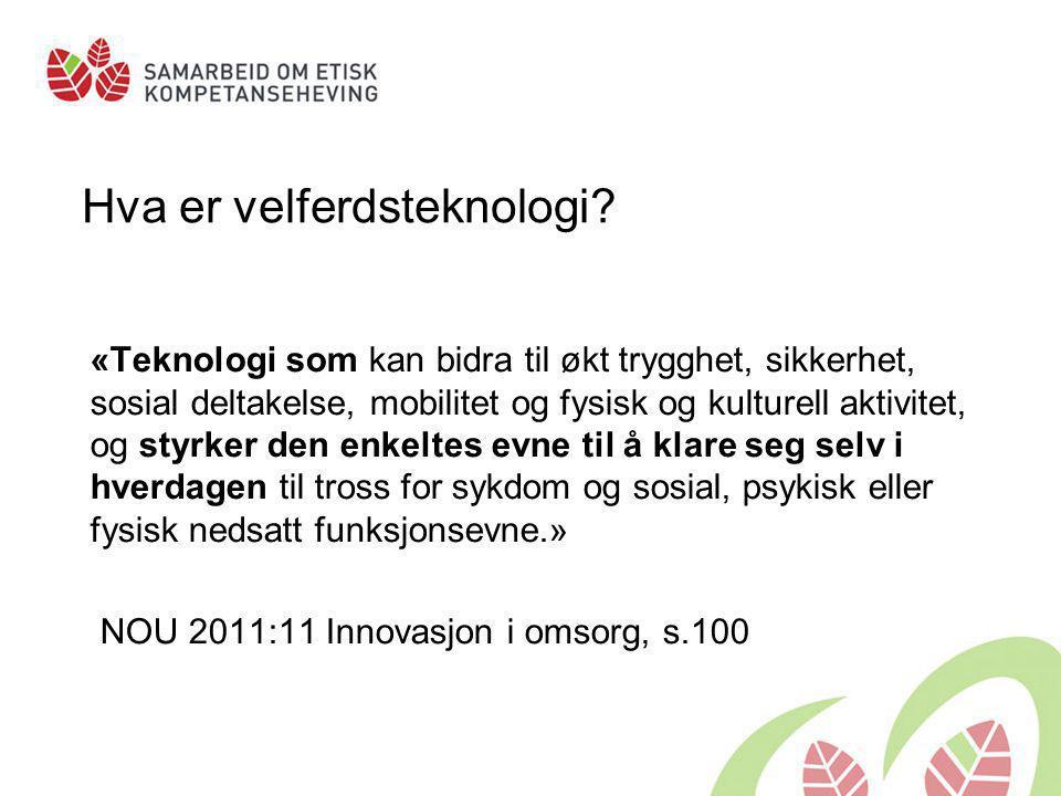 Ulike typer velferdsteknologi: •Trygghets- og sikkerhetsteknologi •Kompensasjons- og velværeteknologi •Teknologi for sosial kontakt •Teknologi for behandling og pleie NOU 2011:11, s.102-106