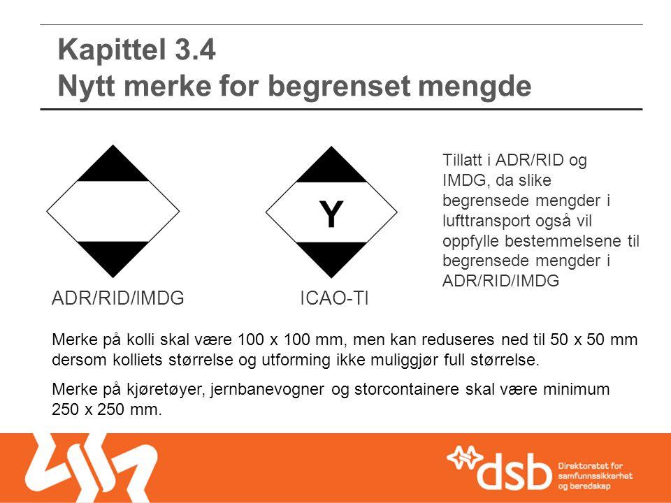 Kapittel 3.4 Nytt merke for begrenset mengde ADR/RID/IMDGICAO-TI Tillatt i ADR/RID og IMDG, da slike begrensede mengder i lufttransport også vil oppfy