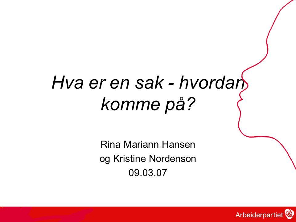 Hva er en sak - hvordan komme på? Rina Mariann Hansen og Kristine Nordenson 09.03.07