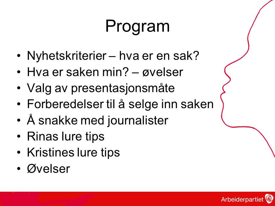 Program •Nyhetskriterier – hva er en sak.•Hva er saken min.