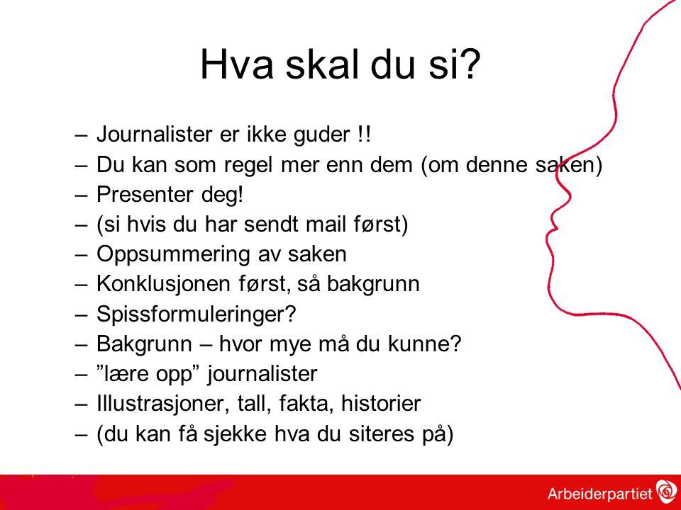Hva skal du si.–Journalister er ikke guder !.