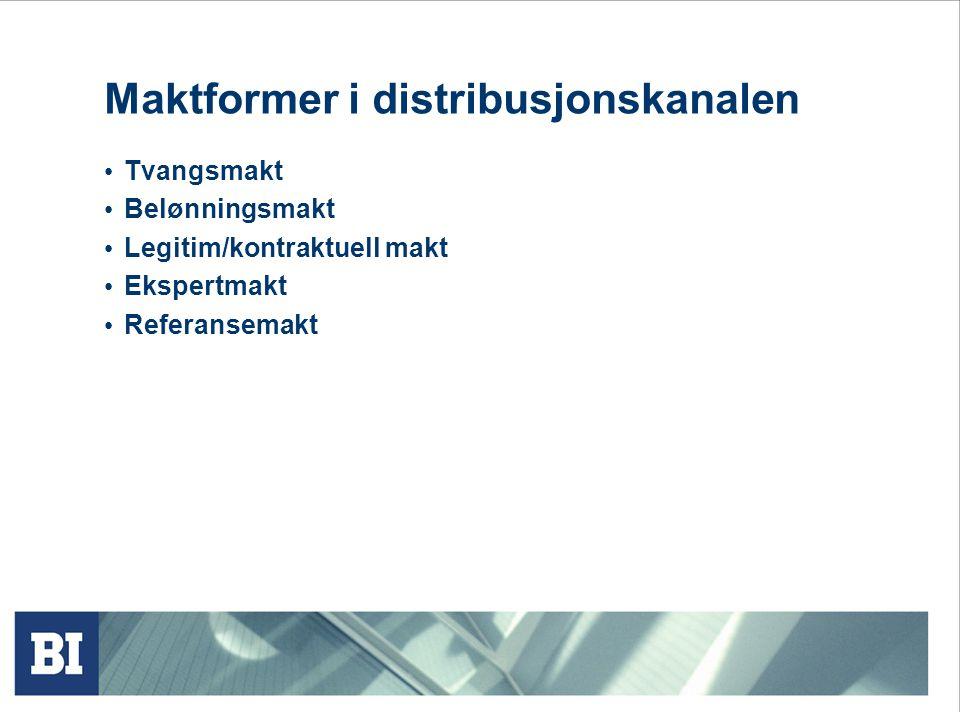 Maktformer i distribusjonskanalen • Tvangsmakt • Belønningsmakt • Legitim/kontraktuell makt • Ekspertmakt • Referansemakt