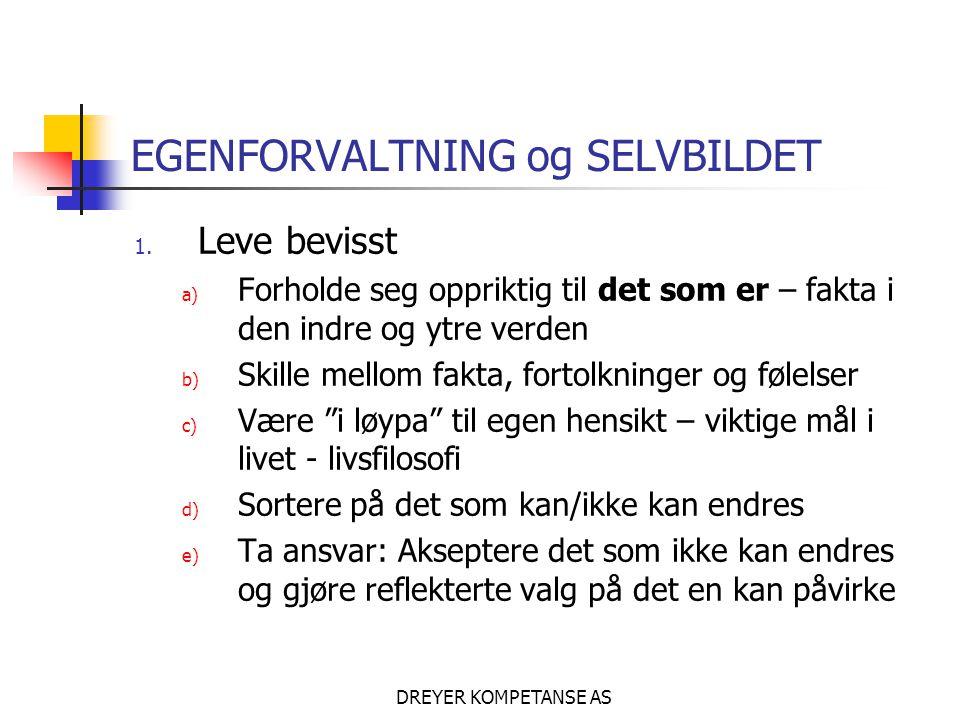 DREYER KOMPETANSE AS EGENFORVALTNING og SELVBILDET 1. Leve bevisst a) Forholde seg oppriktig til det som er – fakta i den indre og ytre verden b) Skil