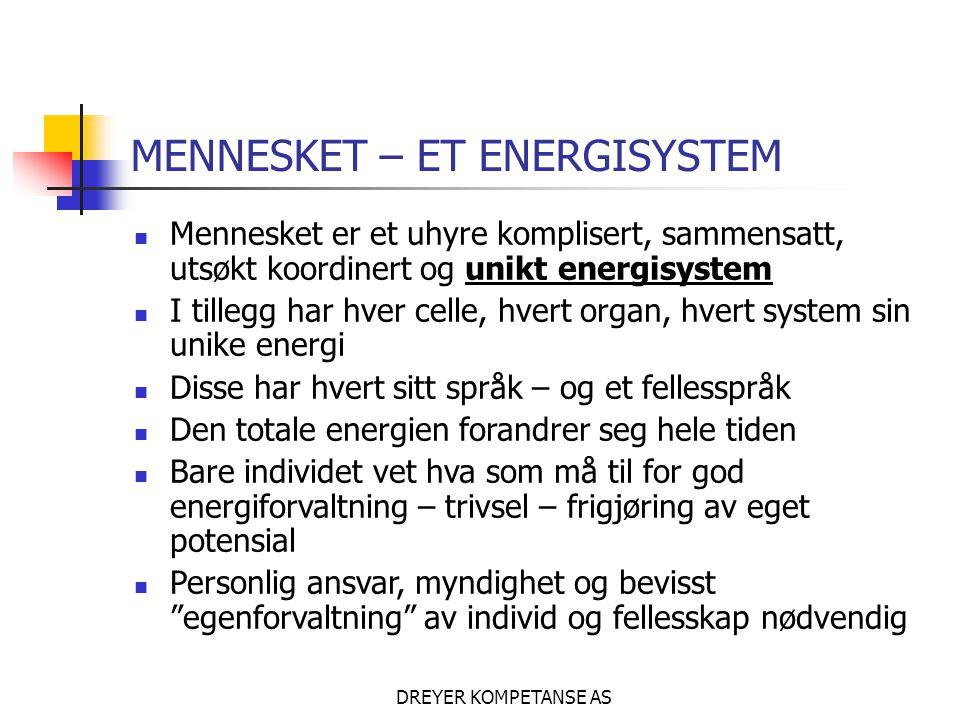 DREYER KOMPETANSE AS MENNESKET – ET ENERGISYSTEM  Mennesket er et uhyre komplisert, sammensatt, utsøkt koordinert og unikt energisystem  I tillegg har hver celle, hvert organ, hvert system sin unike energi  Disse har hvert sitt språk – og et fellesspråk  Den totale energien forandrer seg hele tiden  Bare individet vet hva som må til for god energiforvaltning – trivsel – frigjøring av eget potensial  Personlig ansvar, myndighet og bevisst egenforvaltning av individ og fellesskap nødvendig