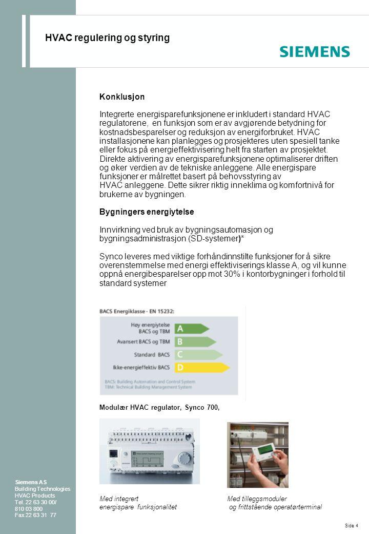 Konklusjon Integrerte energisparefunksjonene er inkludert i standard HVAC regulatorene, en funksjon som er av avgjørende betydning for kostnadsbespare